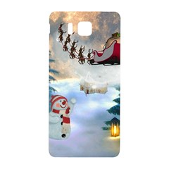 Christmas, Snowman With Santa Claus And Reindeer Samsung Galaxy Alpha Hardshell Back Case by FantasyWorld7