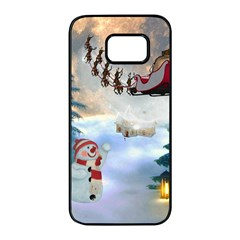 Christmas, Snowman With Santa Claus And Reindeer Samsung Galaxy S7 Edge Black Seamless Case by FantasyWorld7