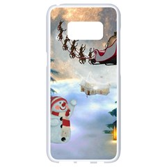 Christmas, Snowman With Santa Claus And Reindeer Samsung Galaxy S8 White Seamless Case by FantasyWorld7