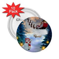 Christmas, Snowman With Santa Claus And Reindeer 2 25  Buttons (10 Pack)  by FantasyWorld7