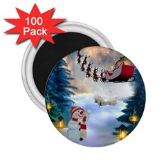 Christmas, Snowman With Santa Claus And Reindeer 2 25  Magnets (100 Pack)  by FantasyWorld7