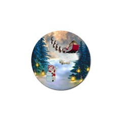 Christmas, Snowman With Santa Claus And Reindeer Golf Ball Marker by FantasyWorld7