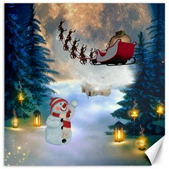 Christmas, Snowman With Santa Claus And Reindeer Canvas 12  X 12   by FantasyWorld7