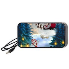 Christmas, Snowman With Santa Claus And Reindeer Portable Speaker by FantasyWorld7