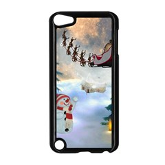Christmas, Snowman With Santa Claus And Reindeer Apple Ipod Touch 5 Case (black) by FantasyWorld7