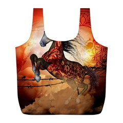 Awesome Creepy Running Horse With Skulls Full Print Recycle Bags (l)  by FantasyWorld7