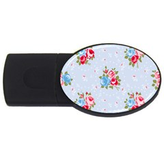 Cute Shabby Chic Floral Pattern Usb Flash Drive Oval (4 Gb) by 8fugoso