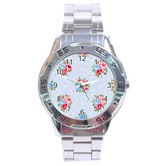 Cute Shabby Chic Floral Pattern Stainless Steel Analogue Watch by 8fugoso