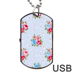Cute Shabby Chic Floral Pattern Dog Tag Usb Flash (two Sides) by Love888