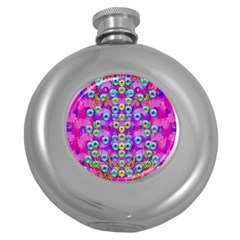 Festive Metal And Gold In Pop Art Round Hip Flask (5 Oz) by pepitasart