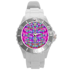 Festive Metal And Gold In Pop Art Round Plastic Sport Watch (l) by pepitasart