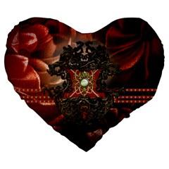 Wonderful Floral Design With Diamond Large 19  Premium Flano Heart Shape Cushions by FantasyWorld7