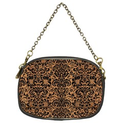 Damask2 Black Marble & Light Maple Wood (r) Chain Purses (two Sides)  by trendistuff