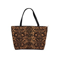 Damask2 Black Marble & Light Maple Wood (r) Shoulder Handbags by trendistuff