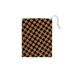 Houndstooth2 Black Marble & Light Maple Wood Drawstring Pouches (xs)  by trendistuff