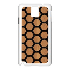 Hexagon2 Black Marble & Light Maple Wood (r) Samsung Galaxy Note 3 N9005 Case (white) by trendistuff