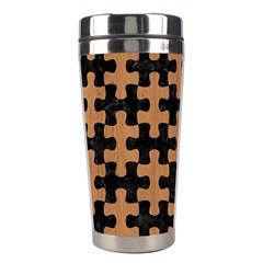 Puzzle1 Black Marble & Light Maple Wood Stainless Steel Travel Tumblers by trendistuff
