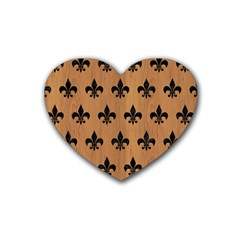 Royal1 Black Marble & Light Maple Wood Heart Coaster (4 Pack)  by trendistuff