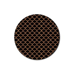 Scales1 Black Marble & Light Maple Wood Rubber Coaster (round)  by trendistuff