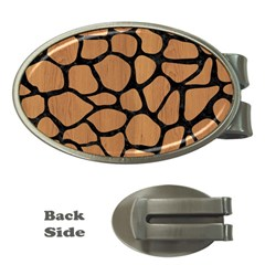 Skin1 Black Marble & Light Maple Wood Money Clips (oval)  by trendistuff