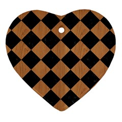 Square2 Black Marble & Light Maple Wood Heart Ornament (two Sides) by trendistuff