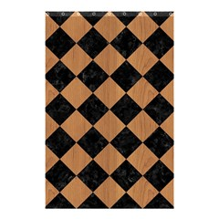 Square2 Black Marble & Light Maple Wood Shower Curtain 48  X 72  (small)  by trendistuff