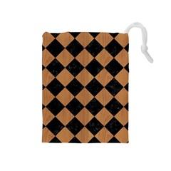 Square2 Black Marble & Light Maple Wood Drawstring Pouches (medium)  by trendistuff
