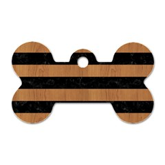 Stripes2 Black Marble & Light Maple Wood Dog Tag Bone (one Side) by trendistuff