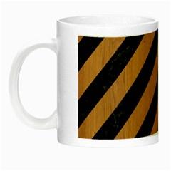 Stripes3 Black Marble & Light Maple Wood Night Luminous Mugs by trendistuff