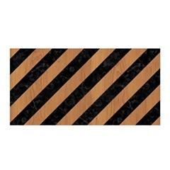 Stripes3 Black Marble & Light Maple Wood Satin Wrap by trendistuff