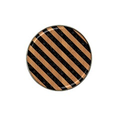 Stripes3 Black Marble & Light Maple Wood (r) Hat Clip Ball Marker (10 Pack) by trendistuff