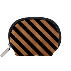 Stripes3 Black Marble & Light Maple Wood (r) Accessory Pouches (small)  by trendistuff