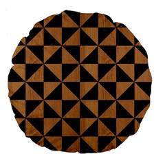 Triangle1 Black Marble & Light Maple Wood Large 18  Premium Flano Round Cushions by trendistuff