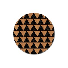 Triangle2 Black Marble & Light Maple Wood Magnet 3  (round) by trendistuff