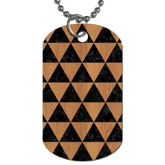 Triangle3 Black Marble & Light Maple Wood Dog Tag (two Sides) by trendistuff