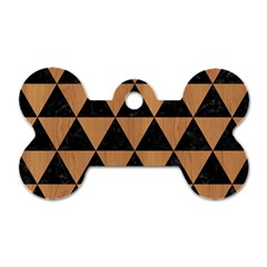 Triangle3 Black Marble & Light Maple Wood Dog Tag Bone (two Sides) by trendistuff