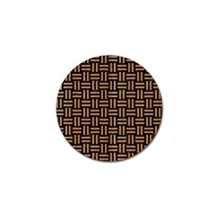 Woven1 Black Marble & Light Maple Wood Golf Ball Marker by trendistuff