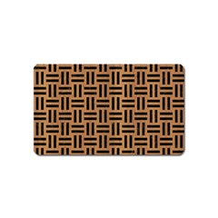 Woven1 Black Marble & Light Maple Wood (r) Magnet (name Card) by trendistuff