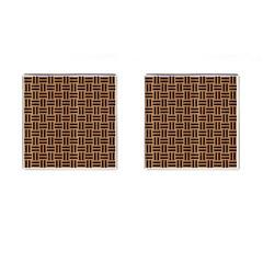 Woven1 Black Marble & Light Maple Wood (r) Cufflinks (square) by trendistuff