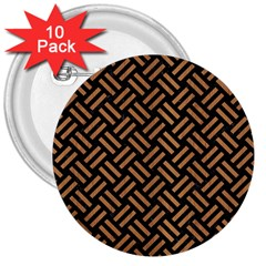 Woven2 Black Marble & Light Maple Wood 3  Buttons (10 Pack)  by trendistuff