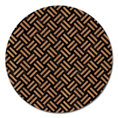 Woven2 Black Marble & Light Maple Wood Magnet 5  (round) by trendistuff