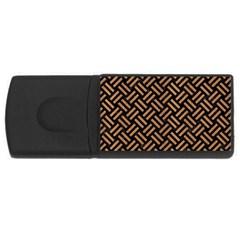 Woven2 Black Marble & Light Maple Wood Rectangular Usb Flash Drive by trendistuff