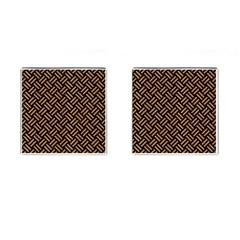 Woven2 Black Marble & Light Maple Wood Cufflinks (square) by trendistuff