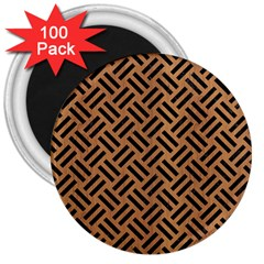 Woven2 Black Marble & Light Maple Wood (r) 3  Magnets (100 Pack) by trendistuff