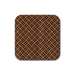 Woven2 Black Marble & Light Maple Wood (r) Rubber Square Coaster (4 Pack)  by trendistuff