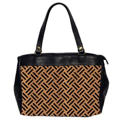 Woven2 Black Marble & Light Maple Wood (r) Office Handbags (2 Sides)  by trendistuff