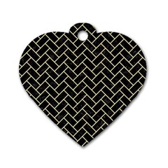 Brick2 Black Marble & Light Sand Dog Tag Heart (two Sides) by trendistuff