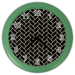 Brick2 Black Marble & Light Sand Color Wall Clocks by trendistuff