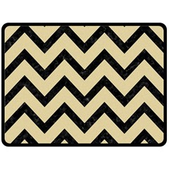 Chevron9 Black Marble & Light Sand (r) Double Sided Fleece Blanket (large)  by trendistuff