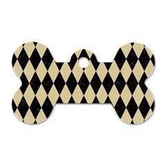 Diamond1 Black Marble & Light Sand Dog Tag Bone (one Side) by trendistuff